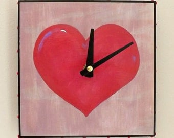 Heart Clock, Red Clock, Love, Handmade Clock, Modern Clock, Functional Art, Houswares, Valentines Day