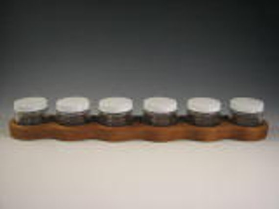 Paint Jar Holder with Six 2 oz Glass Jars and Metal Lids - Made of Cherry Wood - Waldorf Inspired for Watercolor or Acrylic paints