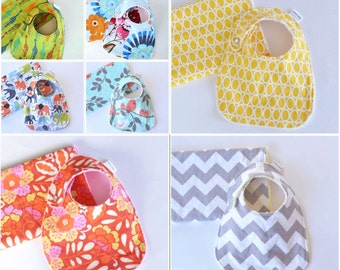 You Choose Baby Gift Set Minky Burp Cloth and Bib Baby Girl, Baby Boy, Unisex Baby