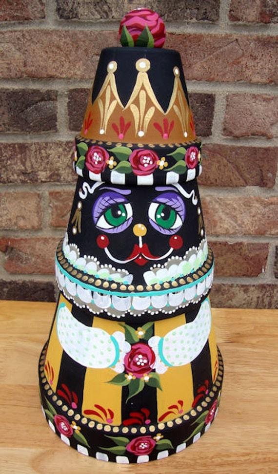Queen Beetrice terra cotta pot hand painted