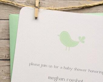 Mint Birdie Custom Baby Shower Invitation- textured, recycled