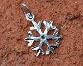 1 Sterling Silver Snowflake Charm 10x14mm
