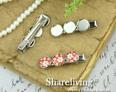5pcs Silver Alligator Hair Clips Pin with 12mm Lace Cameo Setting HA220