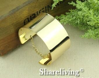 2pcs Silver / Gold Plated Mirror Bangle Cuff Bracelet