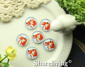 Glass Cabochon, 8mm 10mm 12mm 14mm 16mm 20mm 25mm 30mm Round Handmade photo glass Cabochons  (Lovely Fox) -- BCH230T