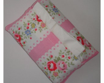 Pocket Tissue Holder Cath Kidston Lace Pink Vintage Flowers