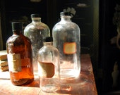 Vintage Chemistry Bottles Lot Clear, Brown Laboratory Apothecary Collection Industrial Decor