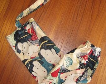 Grocery Store Plastic Bag Dispenser Asian Japanese Fabric Three Beauties Utamaro Design
