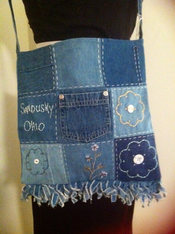 Upcycled Blue Jean Patch Purse