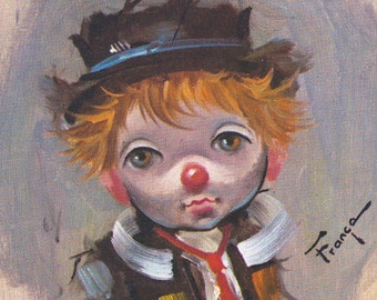 Vintage Ozz Franca Clown Print Big Eyed Child Litho 5x7 Color Lithograph
