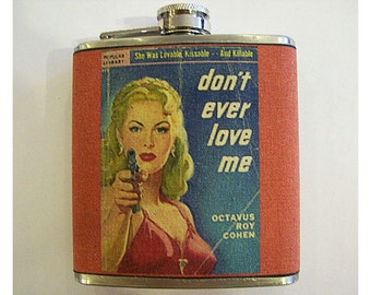 pulp fiction flask retro vintage pin up girl true crime comic book rockabilly kitsch