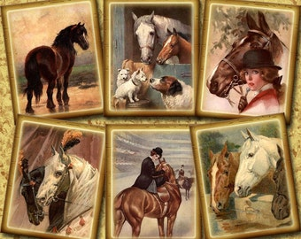 HoRSEs -Set of 24 CHaRMiNG pRiMiTivE Vintage Art Mini Hang/Gift Tags/Cards- Printable Collage Sheet JPG Digital File- NeW LoWER PRiCE