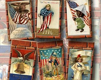Primitive PaTriOtiC Americana Vintage ArT Hang/Gift Tags- paper crafts- INSTaNT DOWNLoAD- CHaRMiNG Printable Collage Sheet JPG Digital File