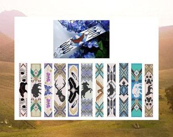 Bead PATTERNS Big Book Of Native Totem Cuffs  Bracelet Loom Square Stitch