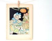 Little Clara Halloween, 1916 Vintage Illustration, Little Folks in Busy Land, Illustrated by Elizabeth Jones Babcock
