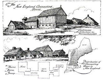 Connecticut Barn, Maine Barn - 1967 Vintage Print - Black and White - 9 x 11