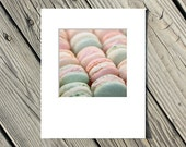 Food Photograph, French Macarons, Still Life Photo, Paris, Pink, Green, Blue, White -5x5 inch print matted to 8x10 inches - Parisian Pastel