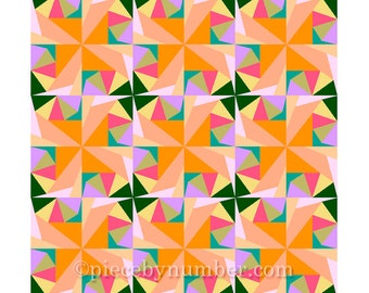 Citrus Twist quilt block pattern, paper pieced quilt patterns, instant download PDF patterns, geometric quilt patterns, geometric patterns