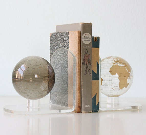 Vintage Lucite Globe Bookends Moon And Earth