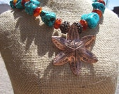 SALE 5.00 off  Happy Cowgirl, Turquoise Nuggets, Amber, Copper Pendant