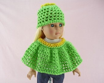 DOLL PONCHO And HAT 18 inch Fashion Dolls Clothes Yellow Green Lemon Lime Beanie Fits American Girl Our Generation Madame Alexander Outfit