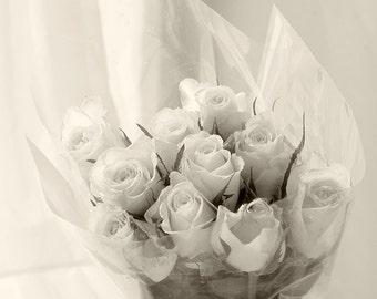 Rose Print, Sepia Photography,  Still Life Photography, Floral Art Print,  Flower Wall Decor, Boho Decor