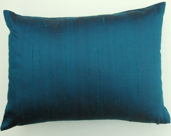 Turquoise Pillow Cover -- Silk Turquoise Throw Pillow Cover -- Aquamarine Silk Cushion Cover -- 12x16
