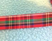 Vintage Red Plaid Ribbon Trim 5/8 inches  1 yard