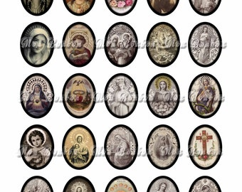 Vintage Religious Sacred Heart No. 5 Digital Download Collage Sheet of 30x40mm Ovals with and without borders- INSTANT DOWNLOAD