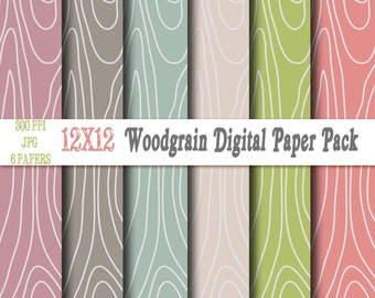 Woodgrain Digital Paper Backgrounds Pack - 12x12 Instant Download