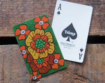 Vintage Retro Style Floral / Flowers Playing Card Deck - Full Deck - Green Version