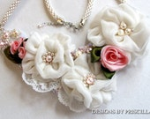 ivory velvet flowers bib necklace statement necklace pink roses bib necklace kumihimo necklace handmade necklace roses flower necklace bib