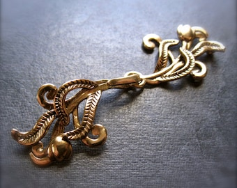 Romantic Botanic artisan Hook and Eye Clasp - single strand necklace clasp - bronze