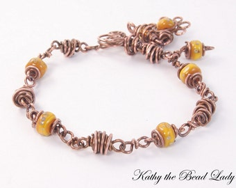 Lampwork Copper Wire Wrapped Bracelet-KTBL