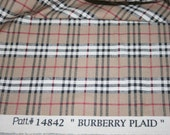 Burberry Plaid Cotton Canvas fabric by the yard LAST 2 YARDS!