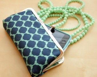 Navy and Mint Moroccan Clutch - Kisslock Frame Clutch in Navy and Seafoam mint Print Canvas Fabric - Kisslock Clutch