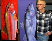 Huge Bright Colorful Striped Bass or Rainbow Trout Fish Wall Art Prints Heavy Weight 40X18 inches!
