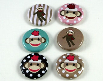 6 One Inch Sock Monkey Buttons- Pinback, Flair, Hollow Back, Flat Back Button Set #3