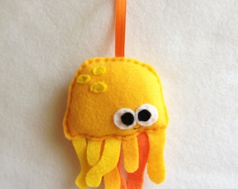 Jellyfish Ornament, Jelly Fish, Ornament, Christmas Ornament, Hubert the Yellow Jellyfish - Made to Order, Felt Animals, Sea Life