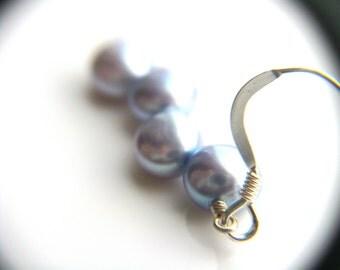 Blue Pearl Earrings . Simple Pearl Dangle Earrings . Light Blue Earrings Sterling Silver . Freshwater Pearl Earrings - Melody Collection
