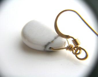Howlite Earrings . White Teardrop Earrings . White Dangle Earrings . Gold and White Earrings . White Drop Earrings - Arcadia Collection