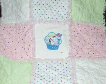 Sale As Is Cup Cake Baby Girl Personalized Pink Mint n Aqua CUPCAKE Security Lovey Rag Quilt   **READY To SHIP**