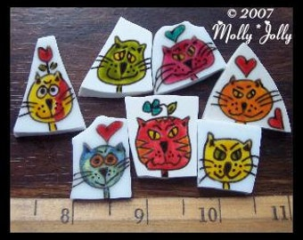 Mosaic Tiles ABSTRACT SILLY CATS hand painted China Mosaic Tile Supplies