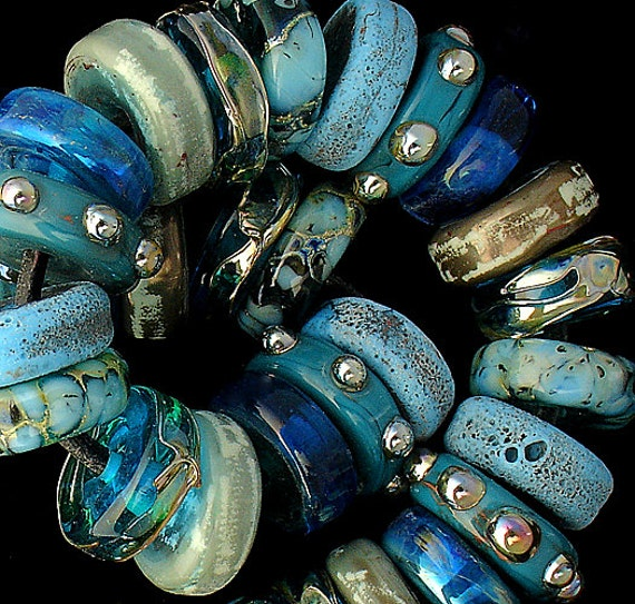DSG Beads Debbie Sanders Artisan Handmade Organic Lampwork Glass - Made To Order ~Atlantis~ Disc Set