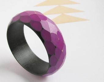 Faceted Wood Bangle Bracelet Modern Purple Violet Black Ombre Geo Facets