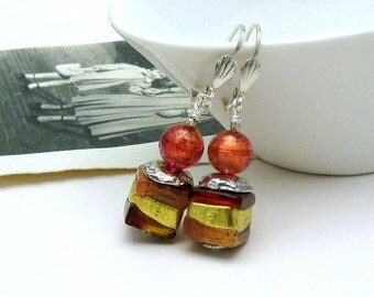 Murano Glass Minimalist Dangle Drop Brick Gold Geometric Earrings   for her under 100, Free US Shipping  and Gift Wrap