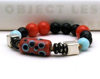 Black Agate Natural Coral Boho Beaded Bracelet, Boutique Wearable Art, Geometric Pastel Blue Retro Bracelet, for Her Under 250