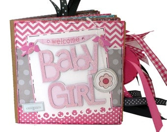 Welcome Baby Girl Scrapbook - New Baby Girl Photo Album -  Mini Paper Bag Album