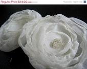 ON SALE - Cream Flower Hair Pins, Ivory Chiffon, Clear Beads
