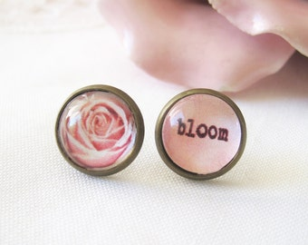 Rose Bloom Mismatched Antique Brass Post Earrings